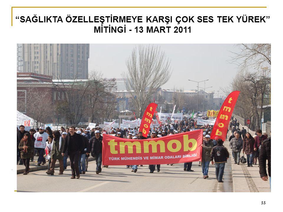 """0 55 """"SAĞLIKTA ÖZELLEŞTİRMEYE KARŞI ÇOK SES TEK YÜREK"""" MİTİNGİ - 13 MART 2011"""