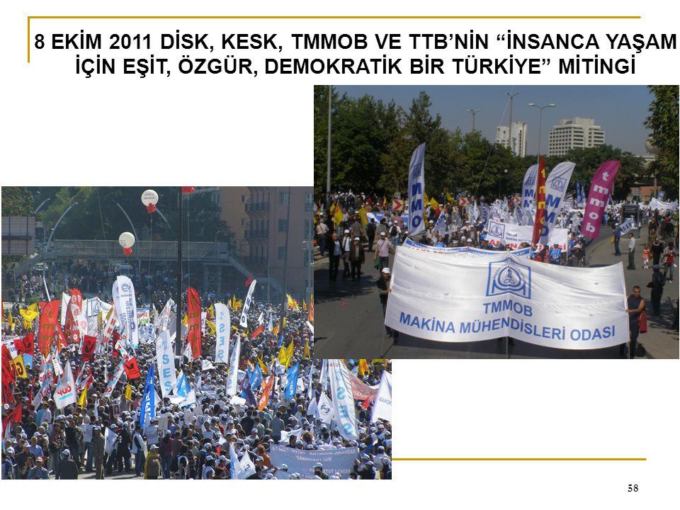 """0 58 8 EKİM 2011 DİSK, KESK, TMMOB VE TTB'NİN """"İNSANCA YAŞAM İÇİN EŞİT, ÖZGÜR, DEMOKRATİK BİR TÜRKİYE"""" MİTİNGİ"""