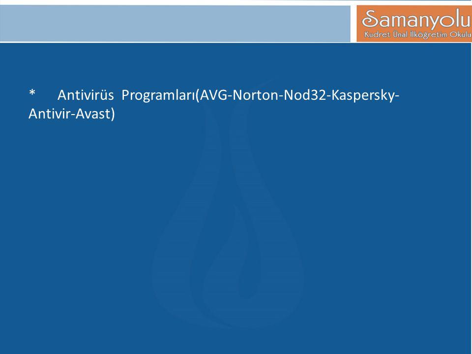 * Antivirüs Programları(AVG-Norton-Nod32-Kaspersky- Antivir-Avast)