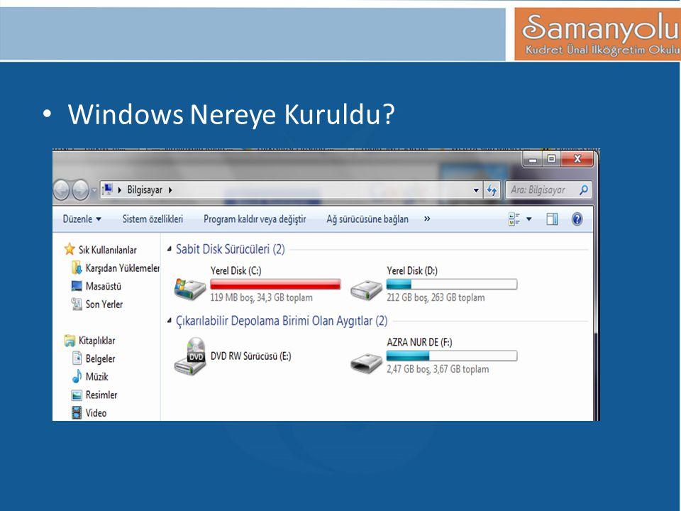 Windows Nereye Kuruldu?
