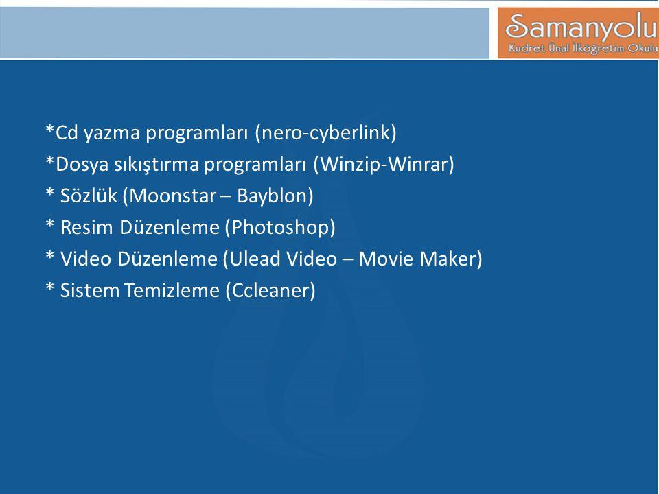 *Cd yazma programları (nero-cyberlink) *Dosya sıkıştırma programları (Winzip-Winrar) * Sözlük (Moonstar – Bayblon) * Resim Düzenleme (Photoshop) * Vid