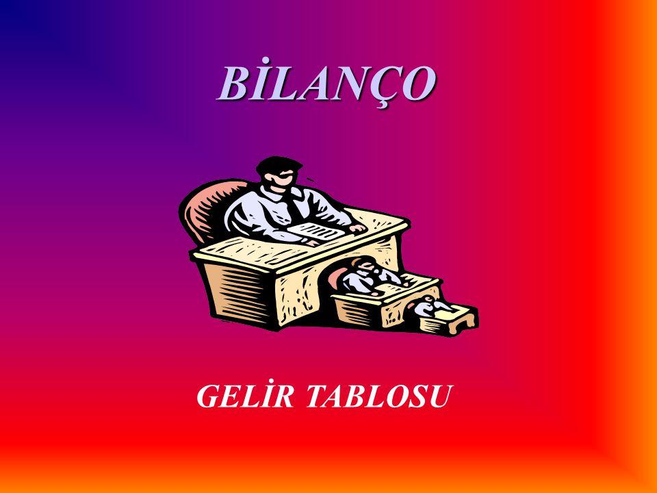 BİLANÇO GELİR TABLOSU