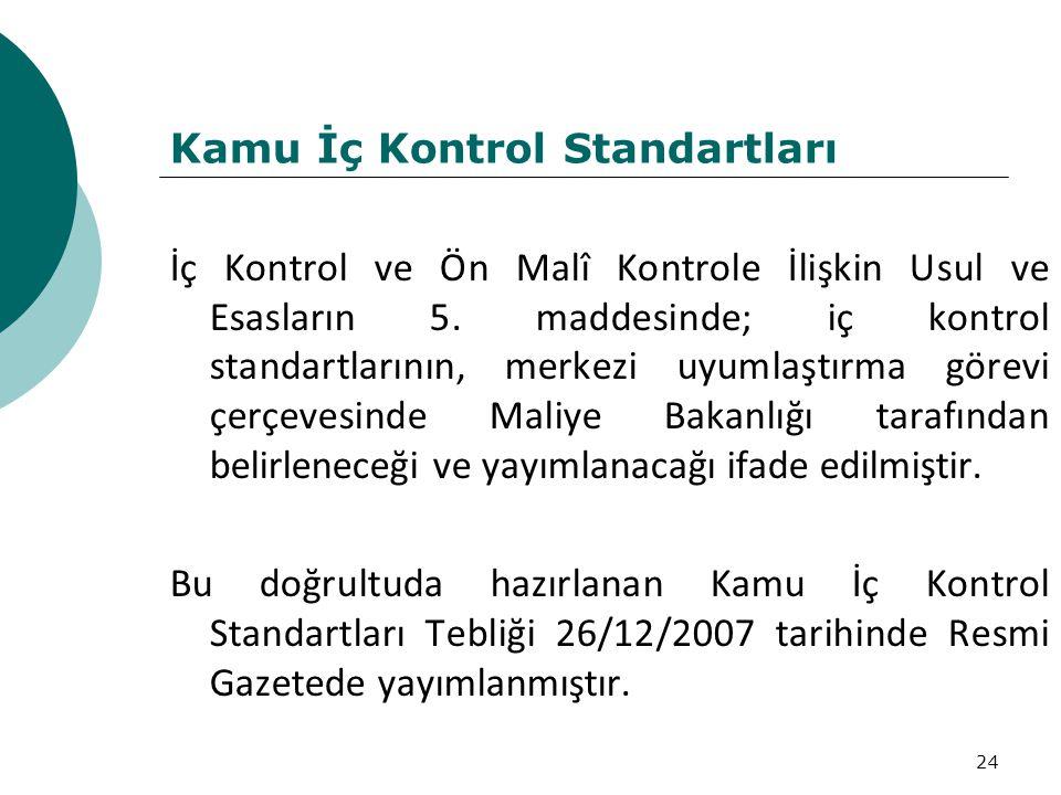 24 Kamu İç Kontrol Standartları İç Kontrol ve Ön Malî Kontrole İlişkin Usul ve Esasların 5.