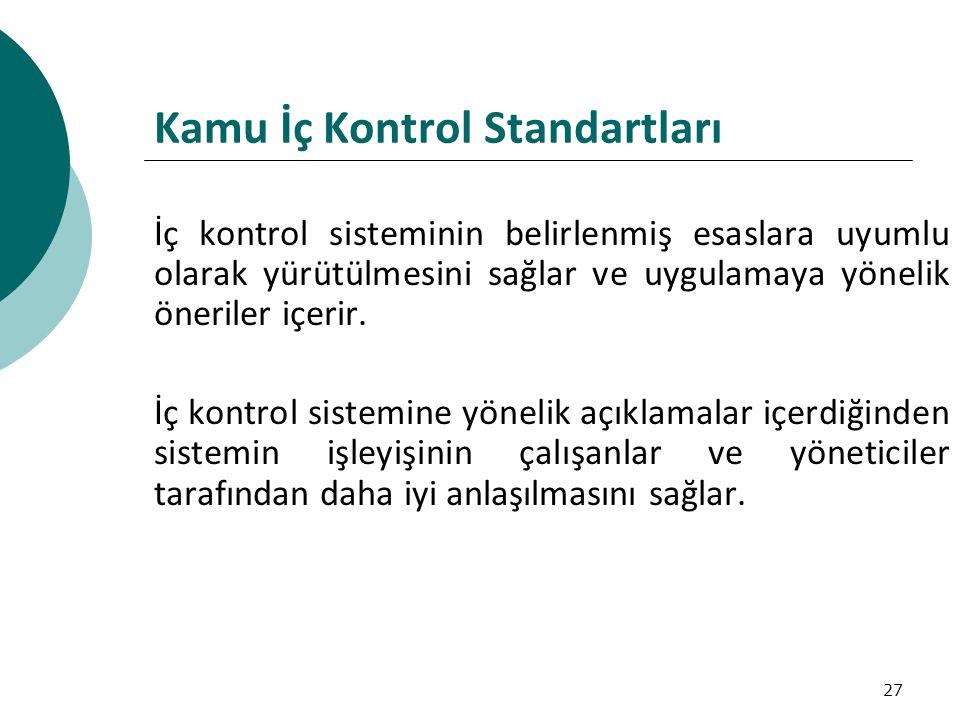 27 Kamu İç Kontrol Standartları İç kontrol sisteminin belirlenmiş esaslara uyumlu olarak yürütülmesini sağlar ve uygulamaya yönelik öneriler içerir.