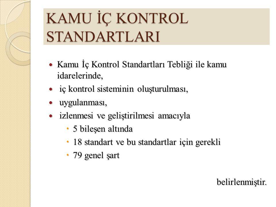KAMU İÇ KONTROL STANDARTLARI Kamu İç Kontrol Standartları Tebliği ile kamu idarelerinde, Kamu İç Kontrol Standartları Tebliği ile kamu idarelerinde, i
