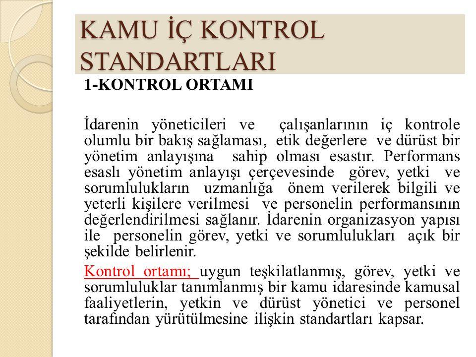 KAMU İÇ KONTROL STANDARTLARI 1-KONTROL ORTAMI İdarenin yöneticileri ve çalışanlarının iç kontrole olumlu bir bakış sağlaması, etik değerlere ve dürüst