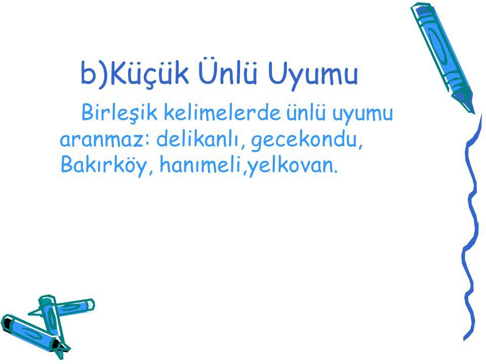 b)Küçük Ünlü Uyumu Birleşik kelimelerde ünlü uyumu aranmaz: delikanlı, gecekondu, Bakırköy, hanımeli,yelkovan.
