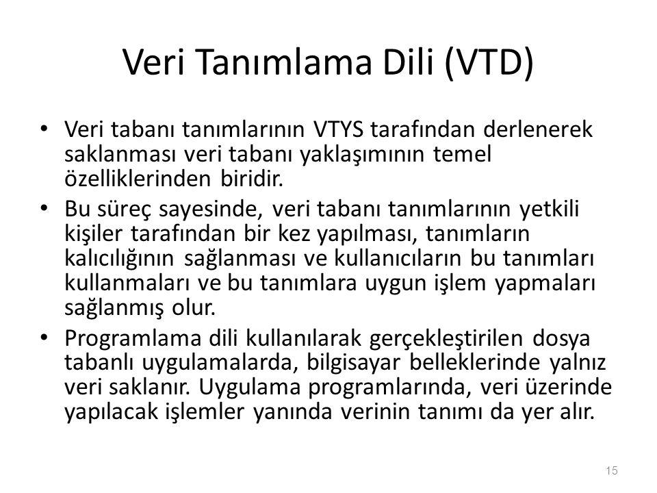 Veri Tanımlama Dili (VTD) Veri tabanı tanımlarının VTYS tarafından derlenerek saklanması veri tabanı yaklaşımının temel özelliklerinden biridir. Bu sü