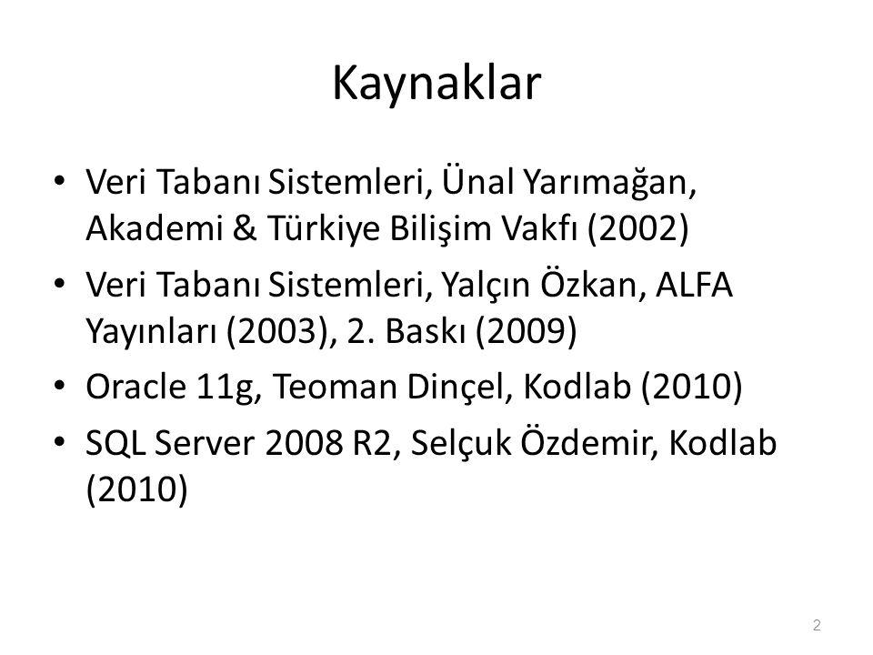 Kaynaklar Veri Tabanı Sistemleri, Ünal Yarımağan, Akademi & Türkiye Bilişim Vakfı (2002) Veri Tabanı Sistemleri, Yalçın Özkan, ALFA Yayınları (2003),