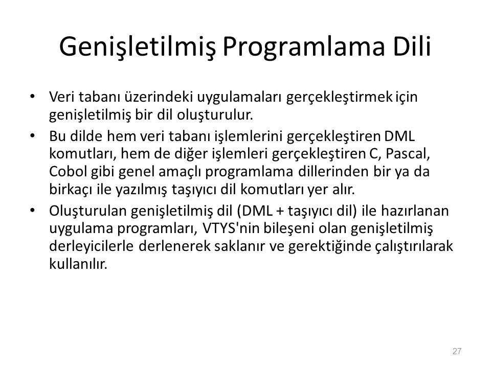 Genişletilmiş Programlama Dili Veri tabanı üzerindeki uygulamaları gerçekleştirmek için genişletilmiş bir dil oluşturulur. Bu dilde hem veri tabanı iş
