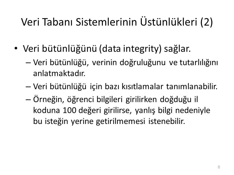 Veri Tabanı Sistemlerinin Üstünlükleri (2) Veri bütünlüğünü (data integrity) sağlar. – Veri bütünlüğü, verinin doğruluğunu ve tutarlılığını anlatmakta