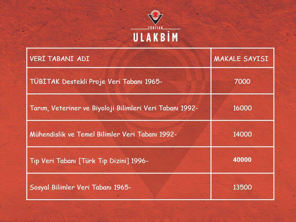 VERİ TABANI ADIMAKALE SAYISI TÜBİTAK Destekli Proje Veri Tabanı 1965-7000 Tarım, Veteriner ve Biyoloji Bilimleri Veri Tabanı 1992-16000 Mühendislik ve Temel Bilimler Veri Tabanı 1992-14000 Tıp Veri Tabanı [Türk Tıp Dizini] 1996- 40000 Sosyal Bilimler Veri Tabanı 1965-13500