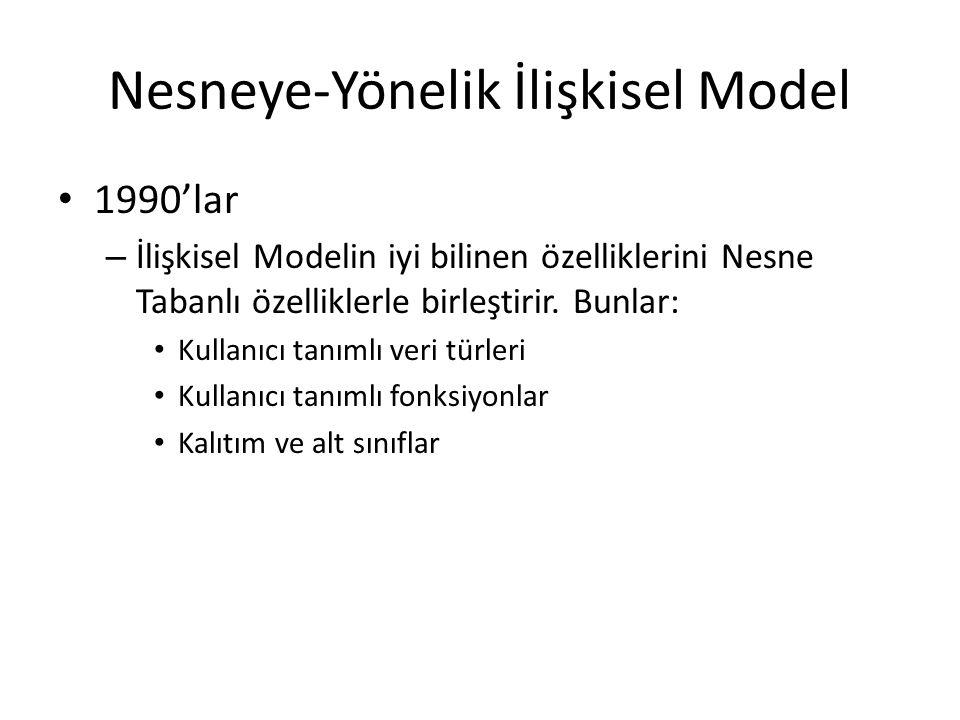 Nesneye-Yönelik İlişkisel Model 1990'lar – İlişkisel Modelin iyi bilinen özelliklerini Nesne Tabanlı özelliklerle birleştirir. Bunlar: Kullanıcı tanım