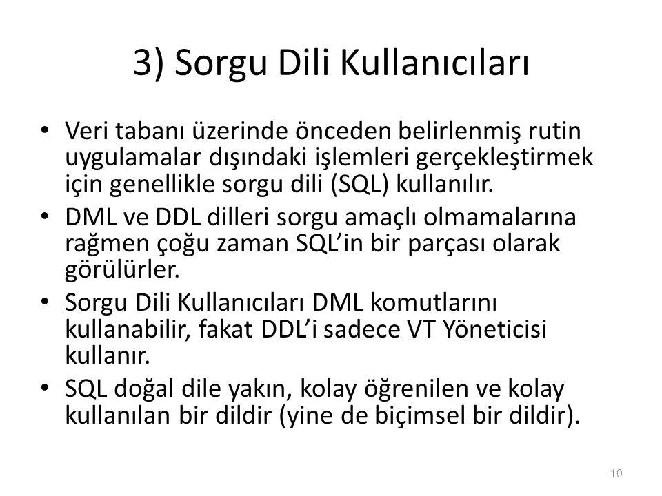 3) Sorgu Dili Kullanıcıları Veri tabanı üzerinde önceden belirlenmiş rutin uygulamalar dışındaki işlemleri gerçekleştirmek için genellikle sorgu dili (SQL) kullanılır.