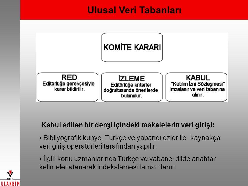 Ulusal Veri Tabanları Kabul edilen bir dergi içindeki makalelerin veri girişi: Bibliyografik künye, Türkçe ve yabancı özler ile kaynakça veri giriş op