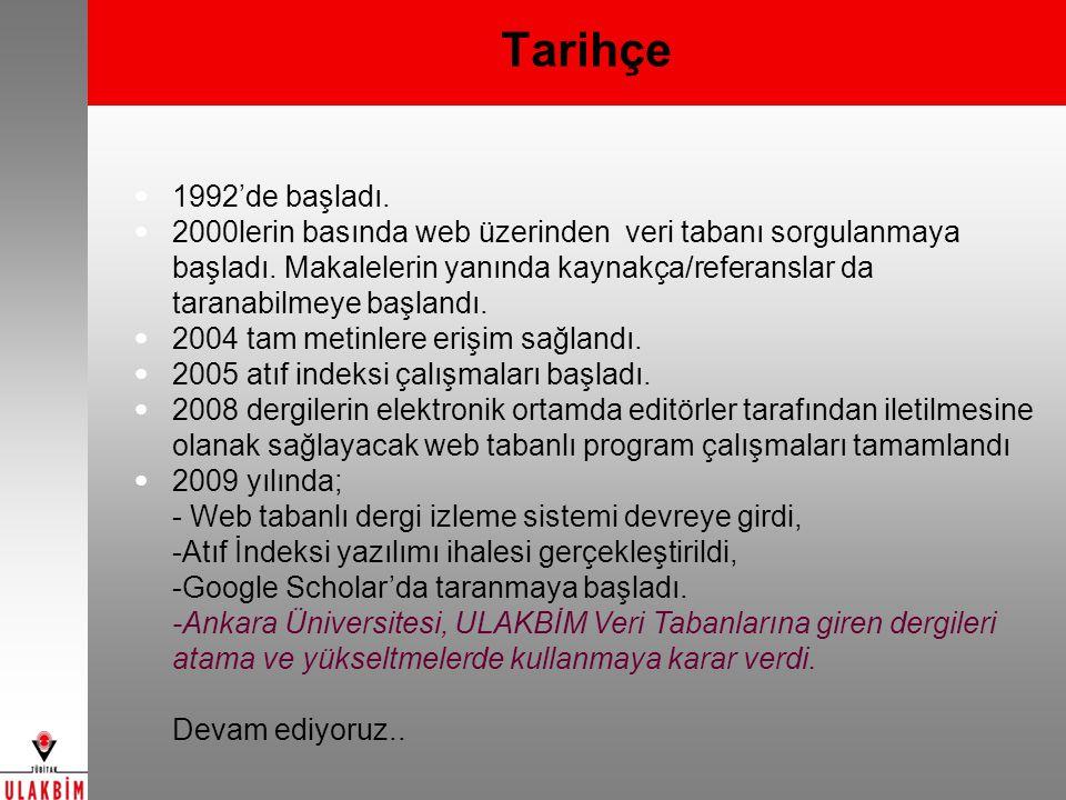 Mühendislik ve Temel Bilimler Veri Tabanı(1992 -) Mühendislik, Temel ve Uygulamalı Bilimler alanlarında Türkiye de yayınlanan süreli yayınlarda bulunan Türkçe ve diğer dillerdeki özgün araştırma/derleme makaleleri ve olgu sunumları http://www.ulakbim.gov.tr/cabim/vt/uvt/muh 120 Dergi 17500 Makale 1400 Tam Metin