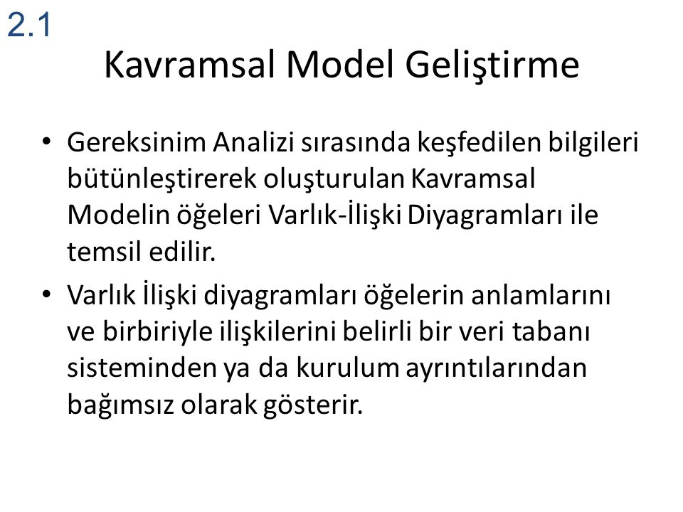 Kavramsal Model Geliştirme Gereksinim Analizi sırasında keşfedilen bilgileri bütünleştirerek oluşturulan Kavramsal Modelin öğeleri Varlık-İlişki Diyagramları ile temsil edilir.