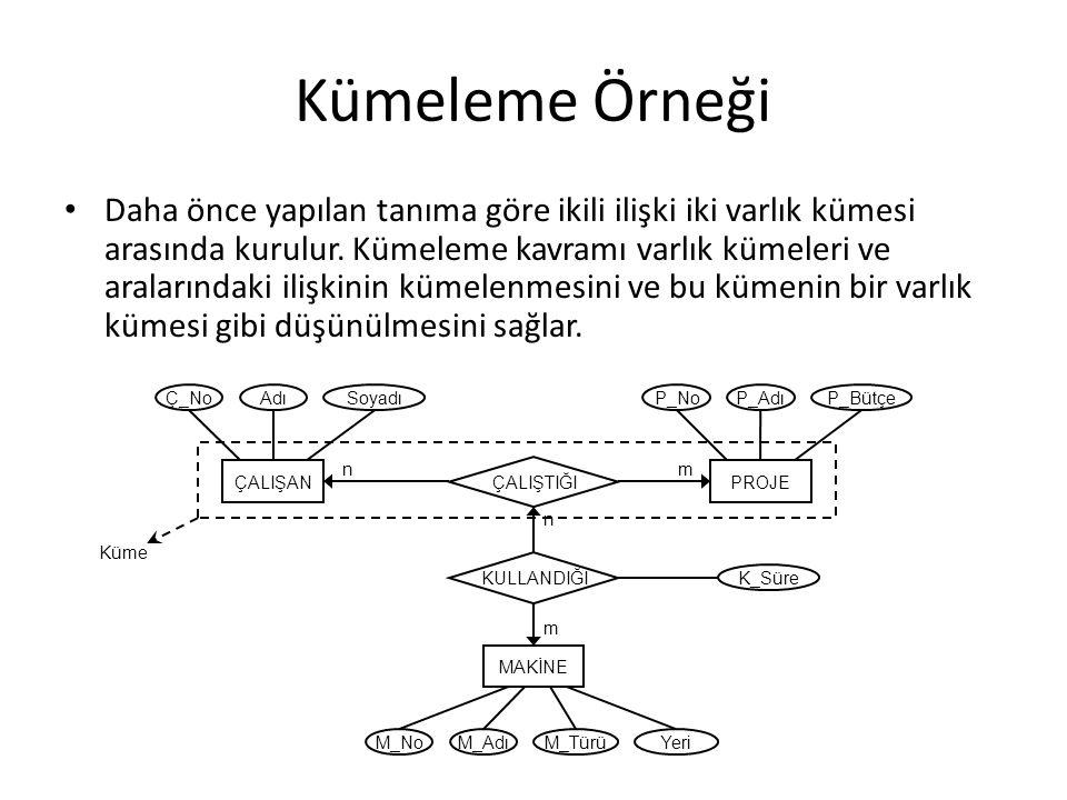 Kümeleme Örneği Daha önce yapılan tanıma göre ikili ilişki iki varlık kümesi arasında kurulur. Kümeleme kavramı varlık kümeleri ve aralarındaki ilişki