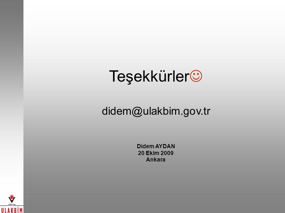 Teşekkürler didem@ulakbim.gov.tr Didem AYDAN 20 Ekim 2009 Ankara