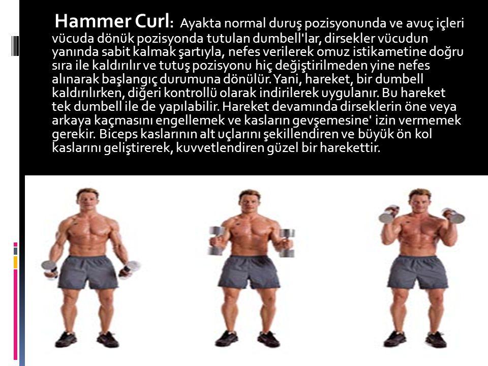 Hammer Curl : Ayakta normal duruş pozisyonunda ve avuç içleri vücuda dönük pozisyonda tutulan dumbell'lar, dirsekler vücudun yanında sabit kalmak şart