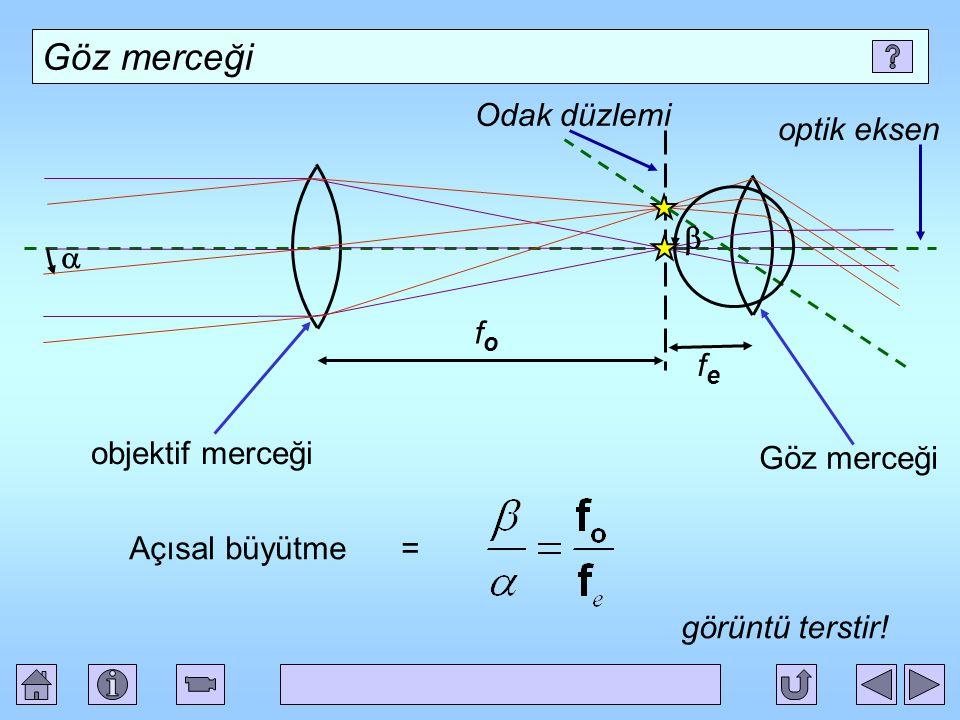 Göz merceği objektif merceği optik eksen Odak düzlemi fofo   fefe Göz merceği Açısal büyütme = görüntü terstir!