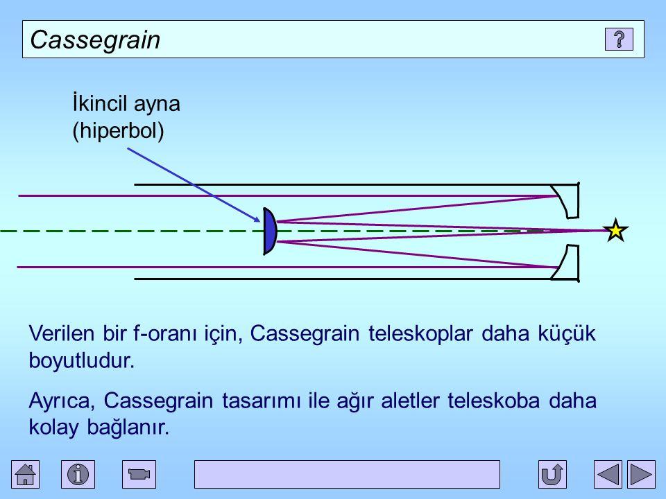 Cassegrain İkincil ayna (hiperbol) Verilen bir f-oranı için, Cassegrain teleskoplar daha küçük boyutludur.