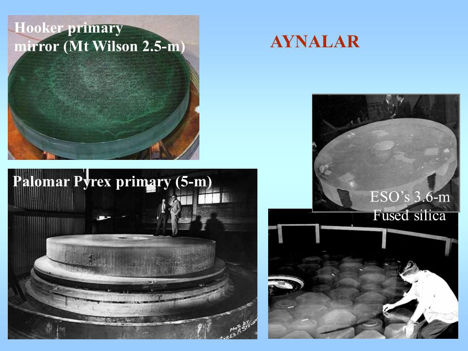 Hooker primary mirror (Mt Wilson 2.5-m)‏ Palomar Pyrex primary (5-m)‏ ESO's 3.6-m Fused silica AYNALAR