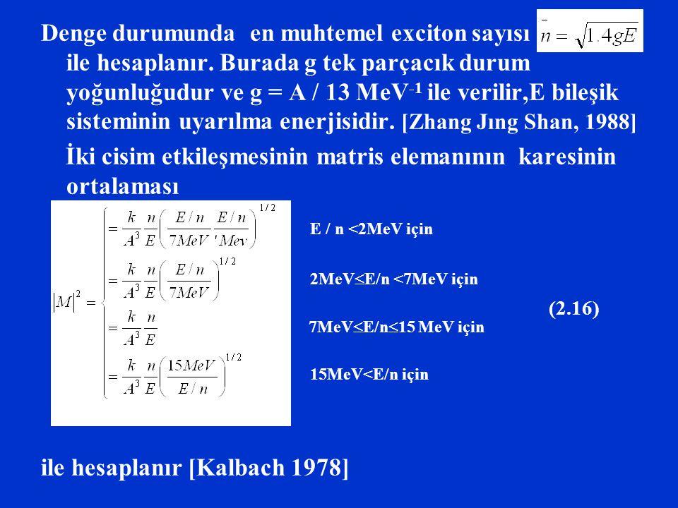Denge durumunda en muhtemel exciton sayısı ile hesaplanır. Burada g tek parçacık durum yoğunluğudur ve g = A / 13 MeV -1 ile verilir,E bileşik sistemi