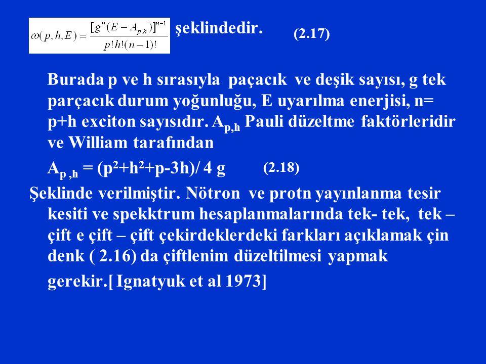 şeklindedir. Burada p ve h sırasıyla paçacık ve deşik sayısı, g tek parçacık durum yoğunluğu, E uyarılma enerjisi, n= p+h exciton sayısıdır. A p,h Pau