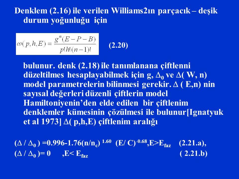 Denklem (2.16) ile verilen Williams2ın parçacık – deşik durum yoğunluğu için bulunur. denk (2.18) ile tanımlanana çiftlenni düzeltilmes hesaplayabilme