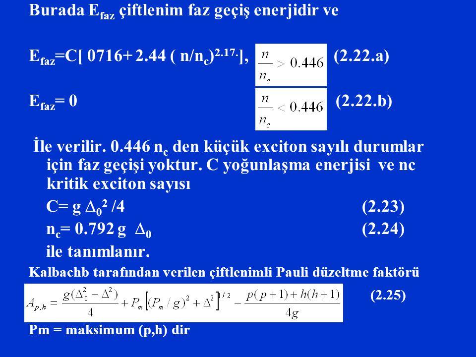 Burada E faz çiftlenim faz geçiş enerjidir ve E faz =C[ 0716+ 2.44 ( n/n c ) 2.17. ], (2.22.a) E faz = 0 (2.22.b) İle verilir. 0.446 n c den küçük exc