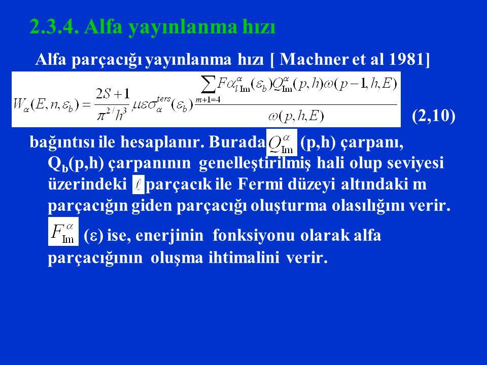 2.3.4. Alfa yayınlanma hızı Alfa parçacığı yayınlanma hızı [ Machner et al 1981] (2,10) bağıntısı ile hesaplanır. Burada (p,h) çarpanı, Q b (p,h) çarp