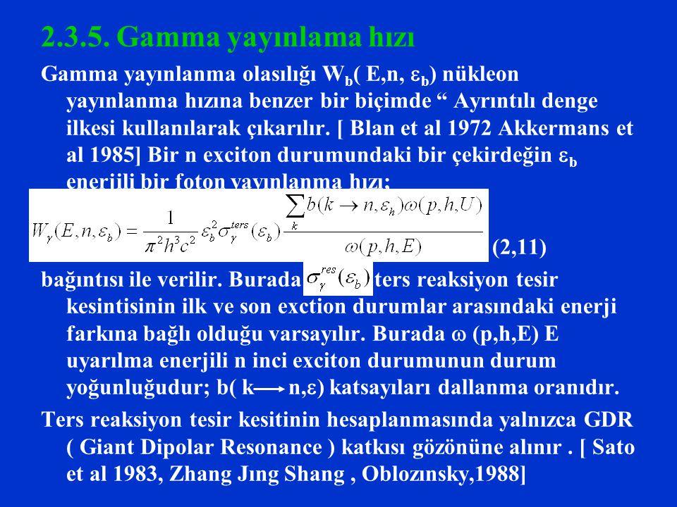 """2.3.5. Gamma yayınlama hızı Gamma yayınlanma olasılığı W b ( E,n,  b ) nükleon yayınlanma hızına benzer bir biçimde """" Ayrıntılı denge ilkesi kullanıl"""