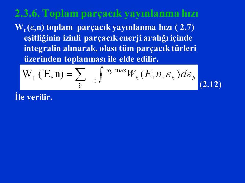 2.3.6. Toplam parçacık yayınlanma hızı W t ( ,n) toplam parçacık yayınlanma hızı ( 2,7) eşitliğinin izinli parçacık enerji aralığı içinde integralin