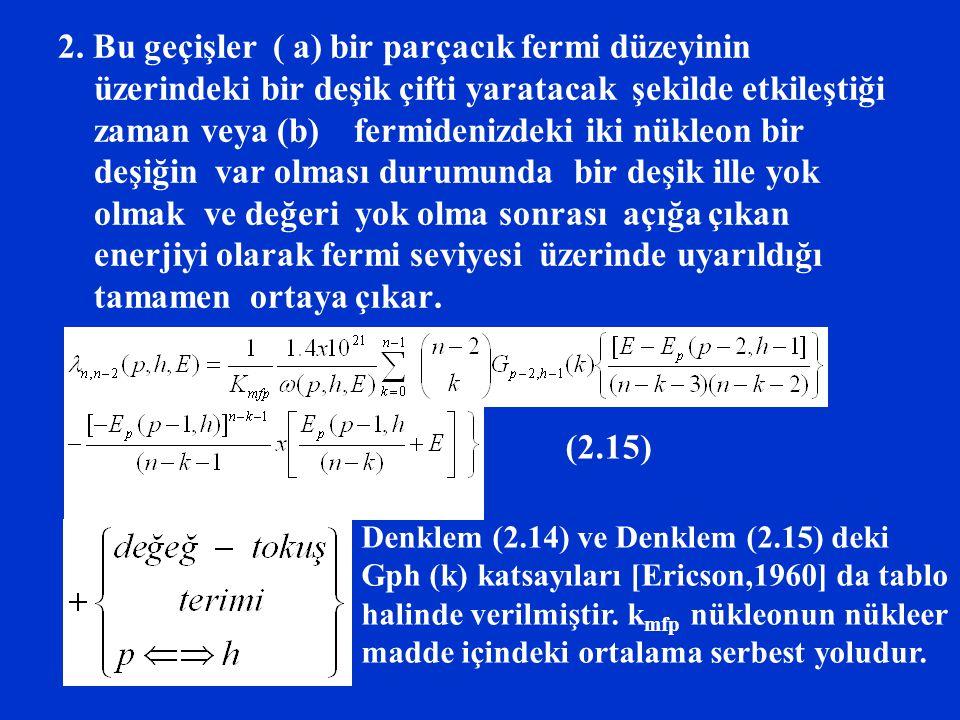 2. Bu geçişler ( a) bir parçacık fermi düzeyinin üzerindeki bir deşik çifti yaratacak şekilde etkileştiği zaman veya (b) fermidenizdeki iki nükleon bi