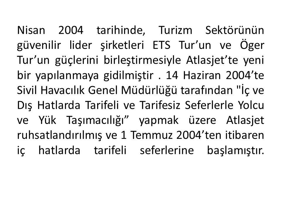 Nisan 2004 tarihinde, Turizm Sektörünün güvenilir lider şirketleri ETS Tur'un ve Öger Tur'un güçlerini birleştirmesiyle Atlasjet'te yeni bir yapılanma