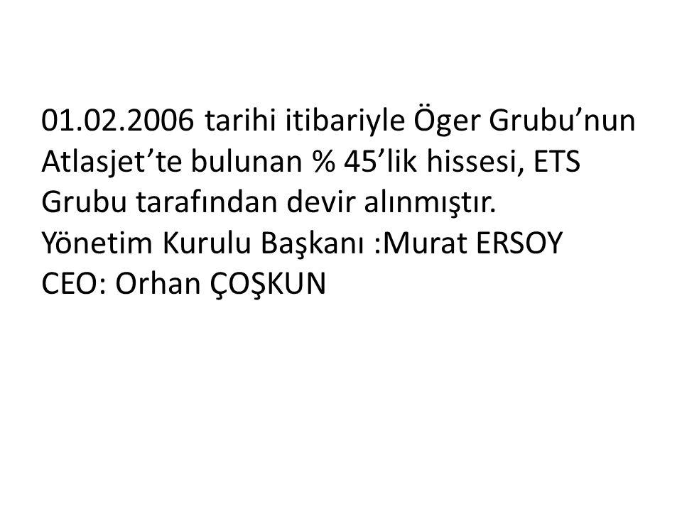 01.02.2006 tarihi itibariyle Öger Grubu'nun Atlasjet'te bulunan % 45'lik hissesi, ETS Grubu tarafından devir alınmıştır. Yönetim Kurulu Başkanı :Murat