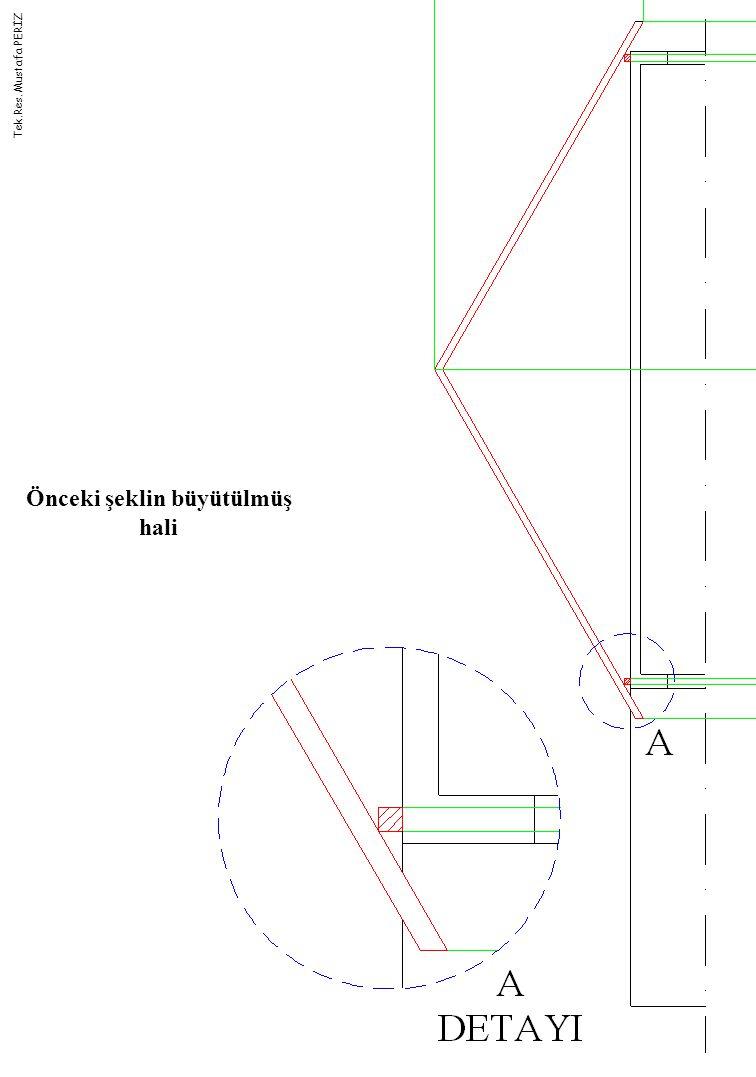 EN SON YAPILACAKLAR Çizim bittikten sonra kesit adı-ölçeği, çatı kotları ve istenirse çatı elemanlarının adı- ebatları yazılır.