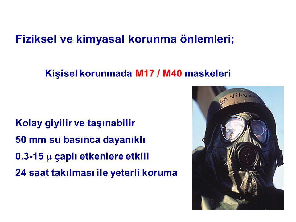 Fiziksel ve kimyasal korunma önlemleri; Kişisel korunmada M17 / M40 maskeleri Kolay giyilir ve taşınabilir 50 mm su basınca dayanıklı 0.3-15  çaplı etkenlere etkili 24 saat takılması ile yeterli koruma