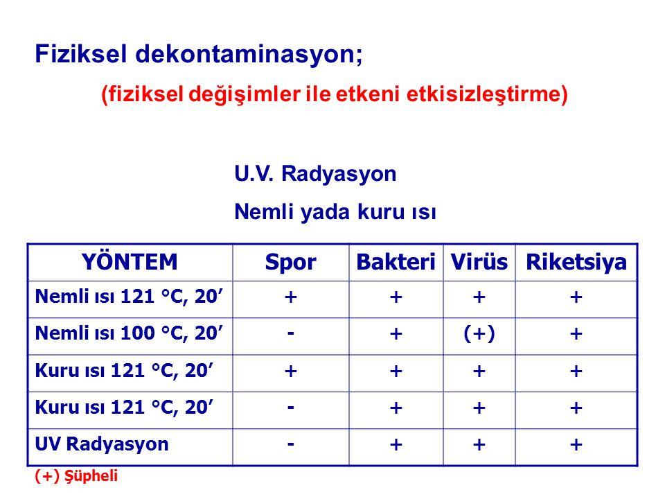 Fiziksel dekontaminasyon; (fiziksel değişimler ile etkeni etkisizleştirme) U.V.