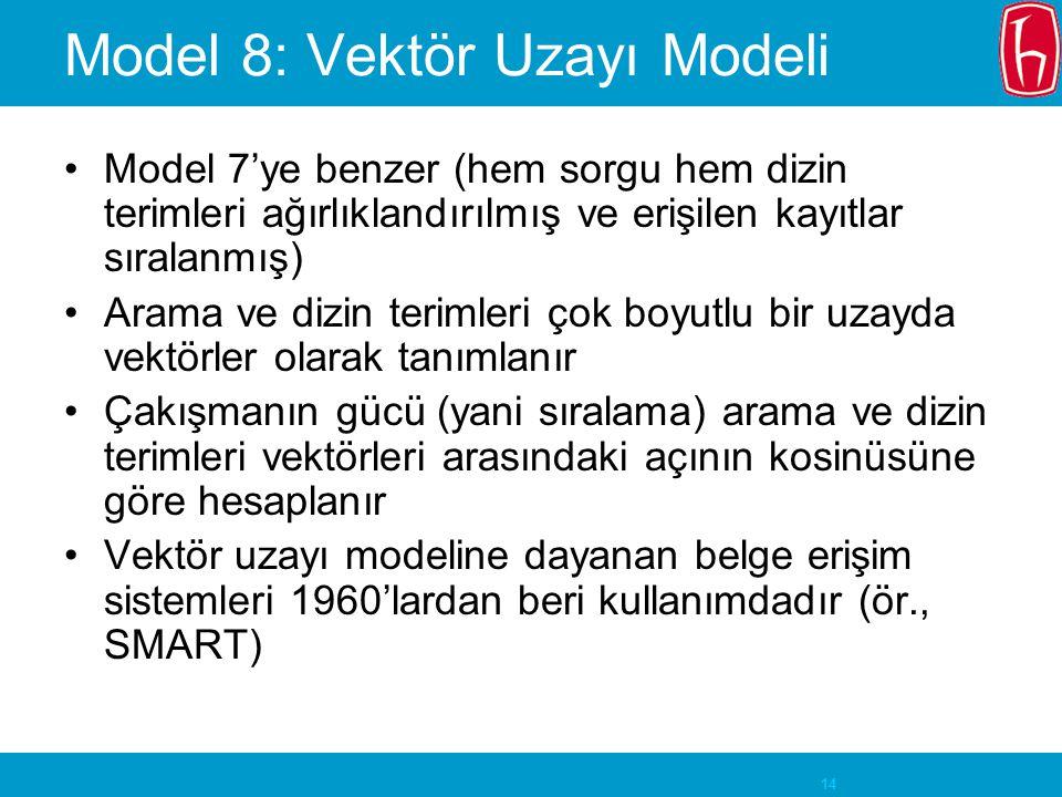 14 Model 8: Vektör Uzayı Modeli Model 7'ye benzer (hem sorgu hem dizin terimleri ağırlıklandırılmış ve erişilen kayıtlar sıralanmış) Arama ve dizin terimleri çok boyutlu bir uzayda vektörler olarak tanımlanır Çakışmanın gücü (yani sıralama) arama ve dizin terimleri vektörleri arasındaki açının kosinüsüne göre hesaplanır Vektör uzayı modeline dayanan belge erişim sistemleri 1960'lardan beri kullanımdadır (ör., SMART)