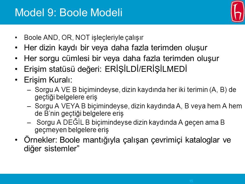 15 Model 9: Boole Modeli Boole AND, OR, NOT işleçleriyle çalışır Her dizin kaydı bir veya daha fazla terimden oluşur Her sorgu cümlesi bir veya daha fazla terimden oluşur Erişim statüsü değeri: ERİŞİLDİ/ERİŞİLMEDİ Erişim Kuralı: –Sorgu A VE B biçimindeyse, dizin kaydında her iki terimin (A, B) de geçtiği belgelere eriş –Sorgu A VEYA B biçimindeyse, dizin kaydında A, B veya hem A hem de B'nin geçtiği belgelere eriş – Sorgu A DEĞİL B biçimindeyse dizin kaydında A geçen ama B geçmeyen belgelere eriş Örnekler: Boole mantığıyla çalışan çevrimiçi kataloglar ve diğer sistemler