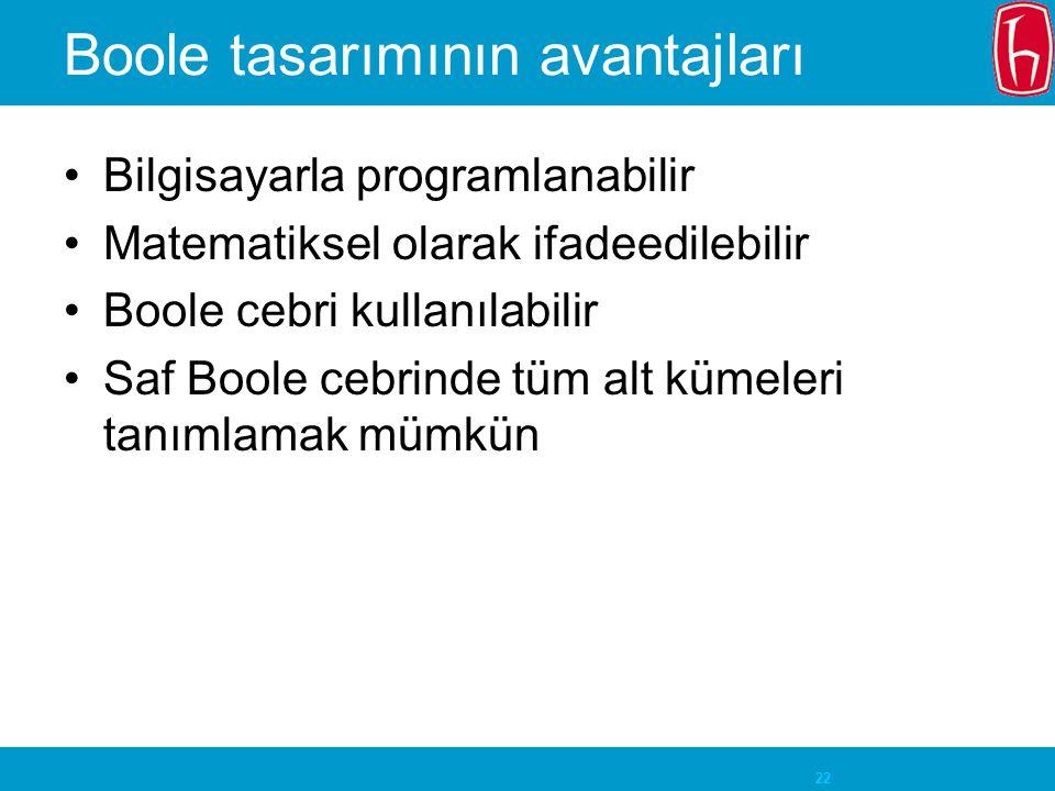 22 Boole tasarımının avantajları Bilgisayarla programlanabilir Matematiksel olarak ifadeedilebilir Boole cebri kullanılabilir Saf Boole cebrinde tüm alt kümeleri tanımlamak mümkün