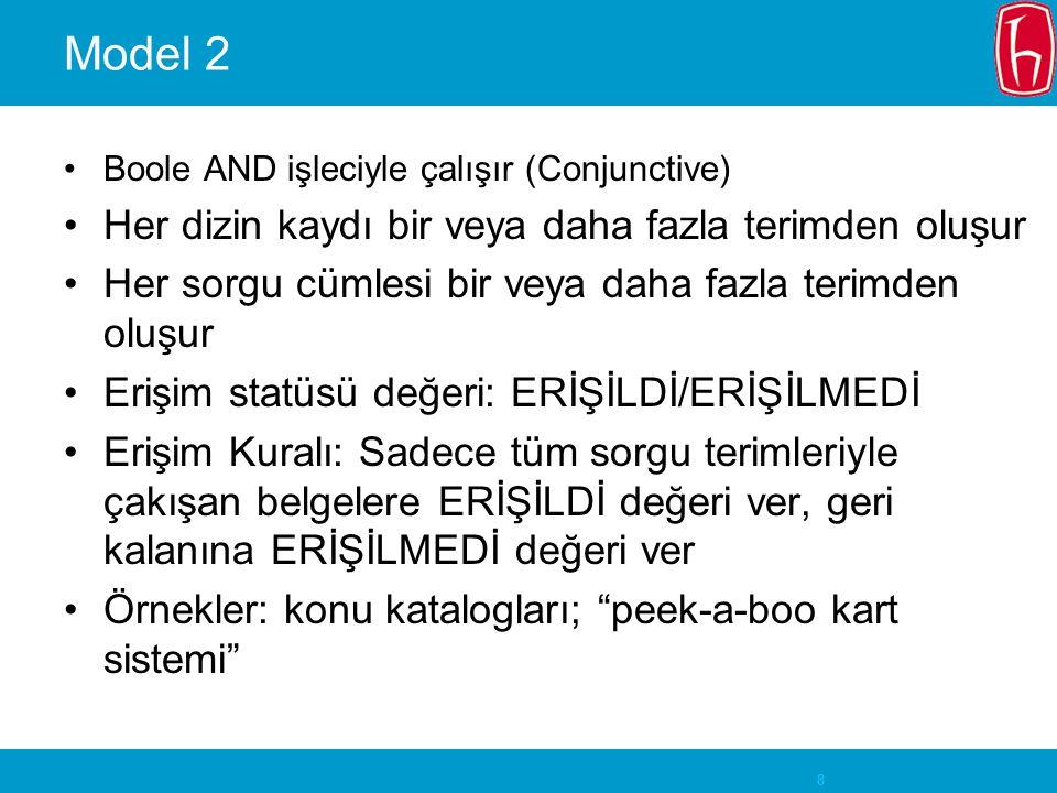 8 Model 2 Boole AND işleciyle çalışır (Conjunctive) Her dizin kaydı bir veya daha fazla terimden oluşur Her sorgu cümlesi bir veya daha fazla terimden oluşur Erişim statüsü değeri: ERİŞİLDİ/ERİŞİLMEDİ Erişim Kuralı: Sadece tüm sorgu terimleriyle çakışan belgelere ERİŞİLDİ değeri ver, geri kalanına ERİŞİLMEDİ değeri ver Örnekler: konu katalogları; peek-a-boo kart sistemi