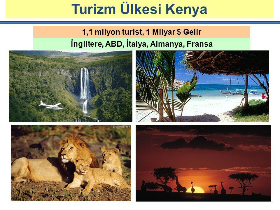 KESME ÇİÇEK ÜRETİMİ VE İHRACATI 1,1 milyon turist, 1 Milyar $ Gelir İngiltere, ABD, İtalya, Almanya, Fransa Turizm Ülkesi Kenya