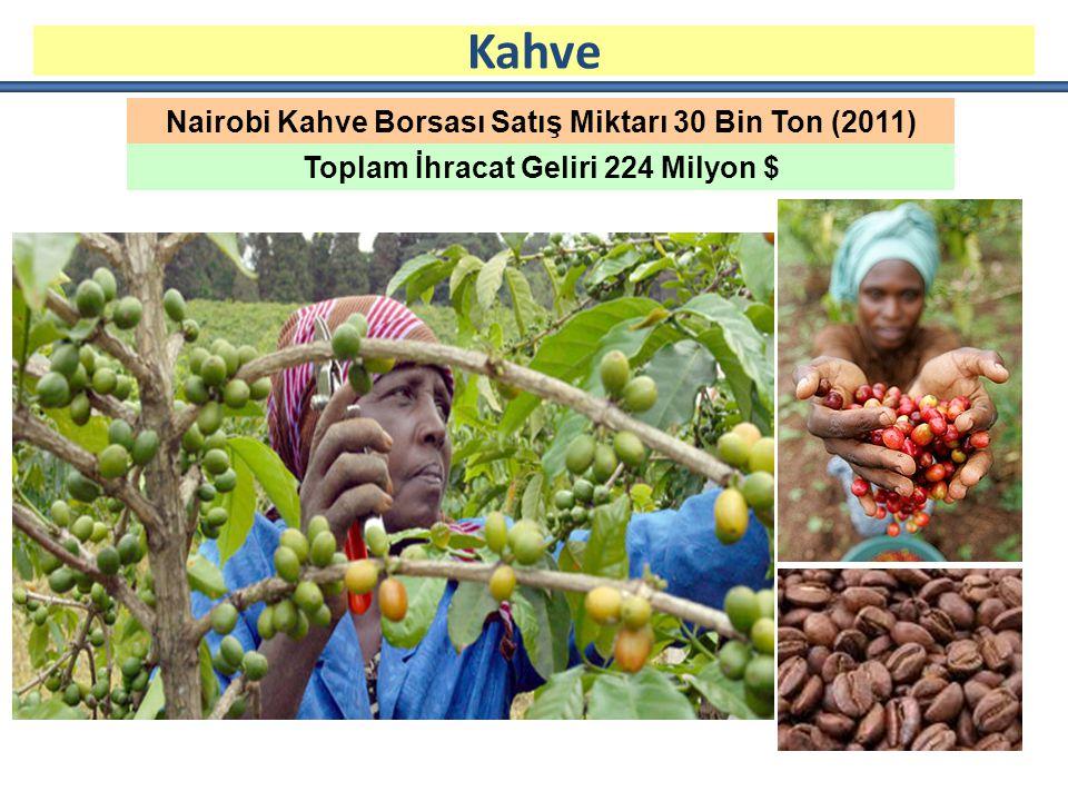 Nairobi Kahve Borsası Satış Miktarı 30 Bin Ton (2011) Toplam İhracat Geliri 224 Milyon $ Kahve