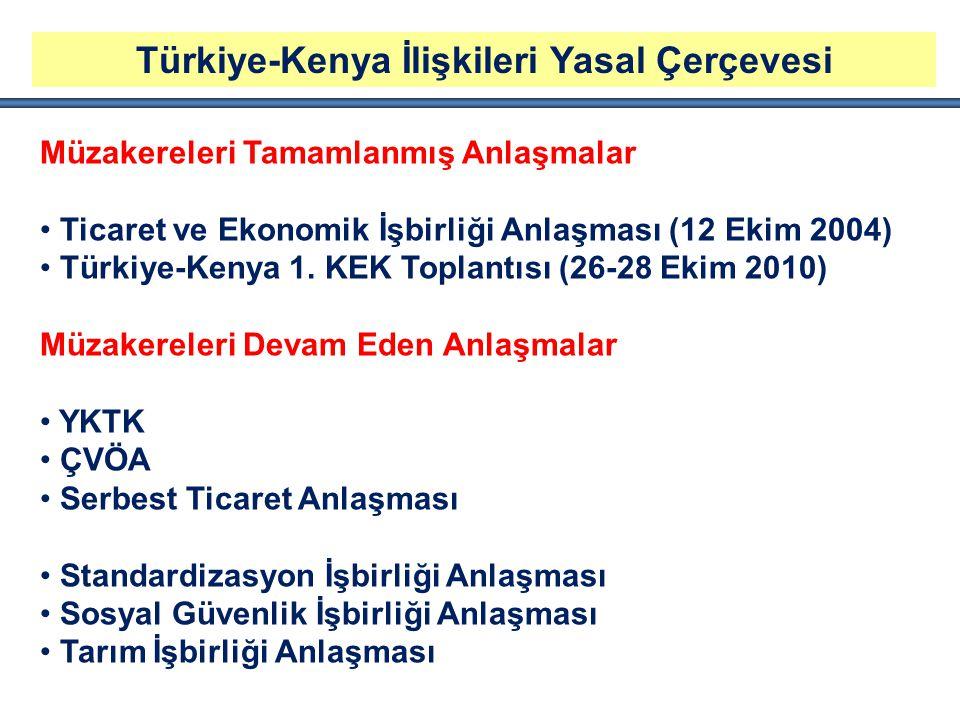 Türkiye-Kenya İlişkileri Yasal Çerçevesi Müzakereleri Tamamlanmış Anlaşmalar Ticaret ve Ekonomik İşbirliği Anlaşması (12 Ekim 2004) Türkiye-Kenya 1. K