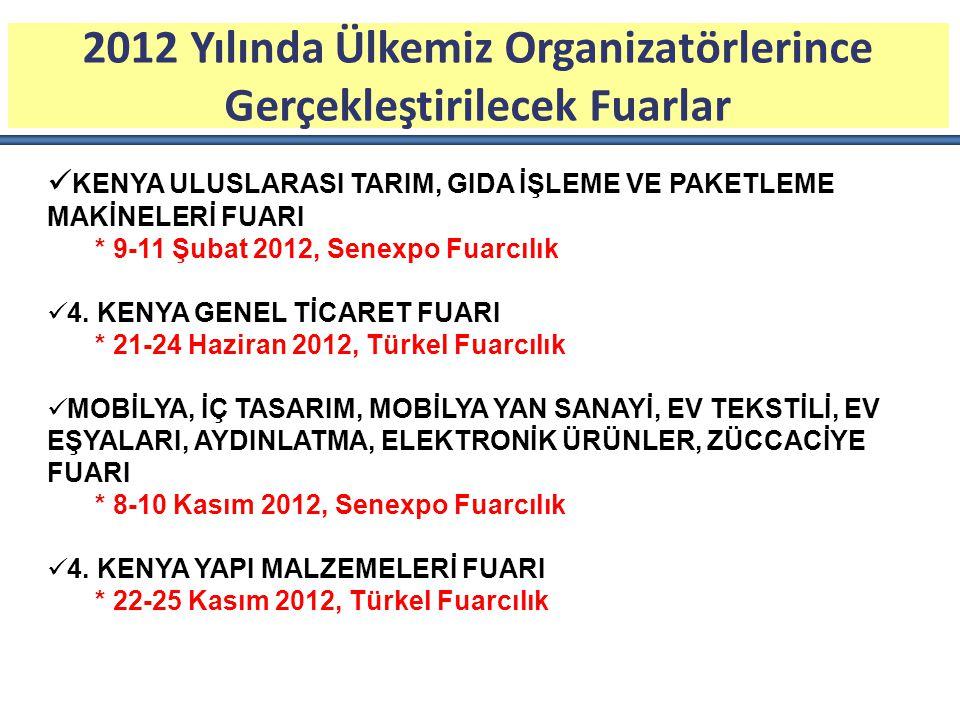 2012 Yılında Ülkemiz Organizatörlerince Gerçekleştirilecek Fuarlar KENYA ULUSLARASI TARIM, GIDA İŞLEME VE PAKETLEME MAKİNELERİ FUARI * 9-11 Şubat 2012