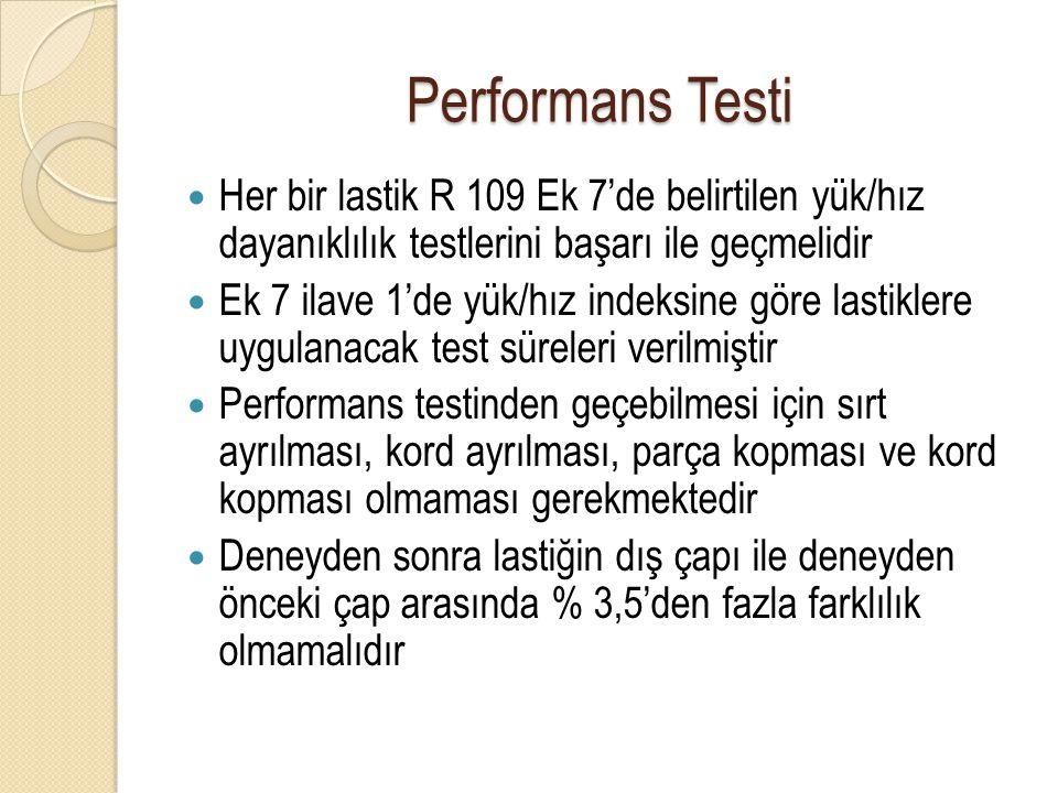 Performans Testi Her bir lastik R 109 Ek 7'de belirtilen yük/hız dayanıklılık testlerini başarı ile geçmelidir Ek 7 ilave 1'de yük/hız indeksine göre