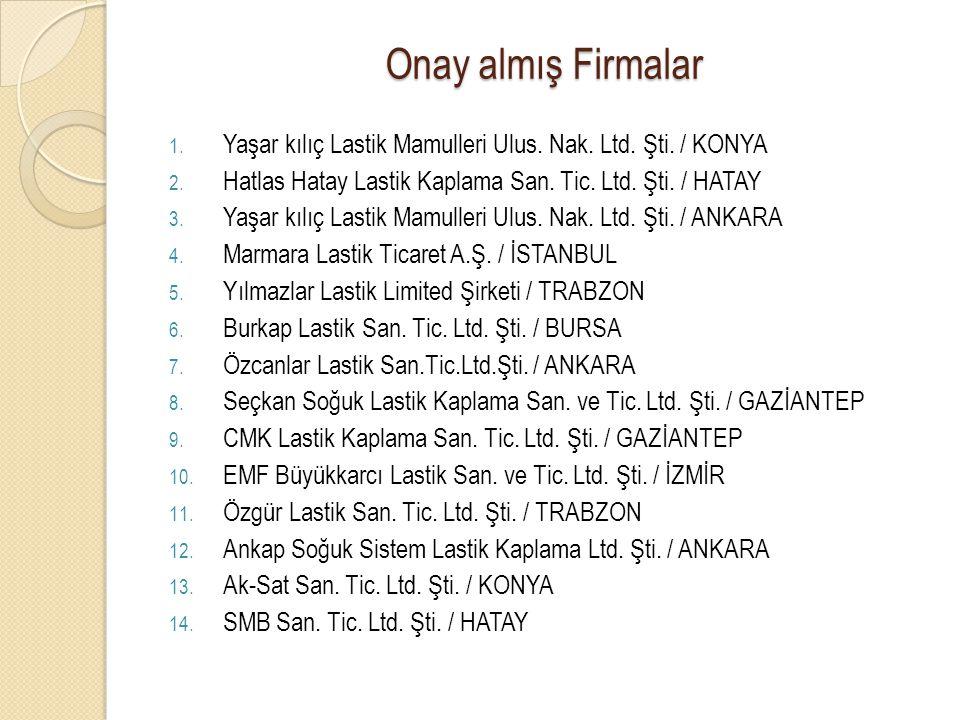 Onay almış Firmalar 1. Yaşar kılıç Lastik Mamulleri Ulus. Nak. Ltd. Şti. / KONYA 2. Hatlas Hatay Lastik Kaplama San. Tic. Ltd. Şti. / HATAY 3. Yaşar k